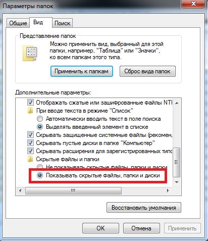 Пункт настройки параметров «Показывать скрытые папки и файлы»