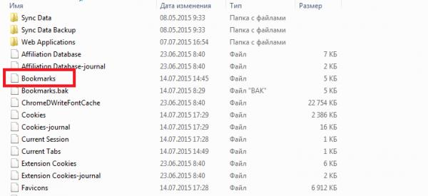 Файл с названием «bookmarks»