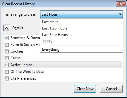 Удаление истории с помощью «Clear Recent»