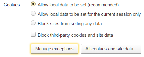 Пункт «Allow local data» категории «Cookies»