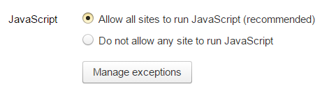 Пункт «Allow all sites to run» категории «JavaScript»
