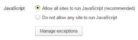 Пункт «Allow all sites to run» категории «JavaScript»