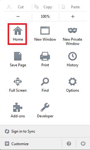 Значок «Home» в панели управления обозревателя