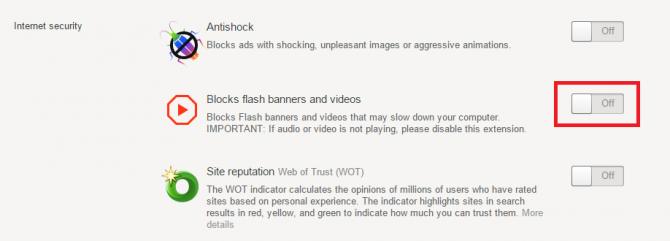 Отключение плагина «Blocks flash banners and videos»