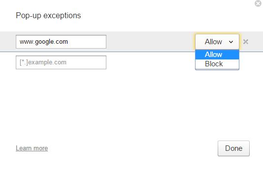Окно для добавления сайтов, показ которых нужно исключить