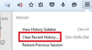 Пункт «Clear recent...» в разделе «History» браузера Mozilla Firefox