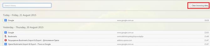 Раздел «History» в браузере Опера