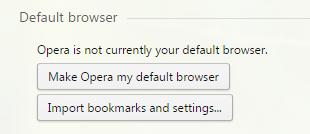 Сообщение, что Опера не является браузером по умолчанию, и две кнопки