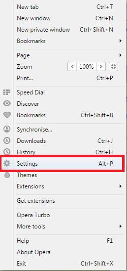 Раздел «Settings» панели управления браузера