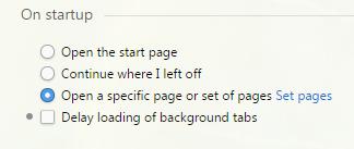 Отметка напротив пункта «Open a page or set of pages»