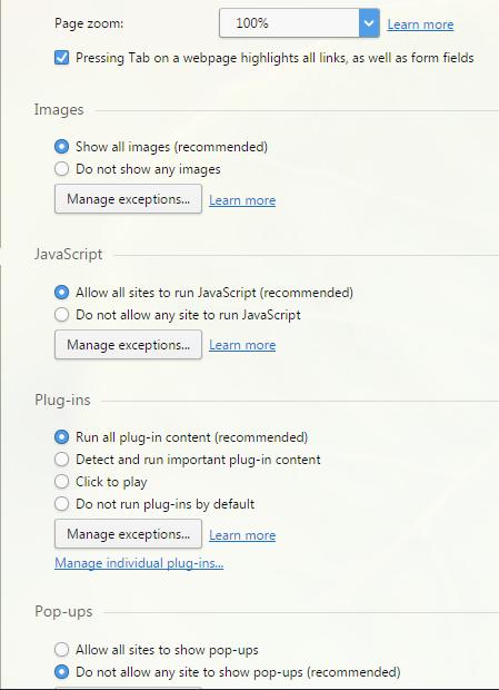Раздел Websites с настройками отображения веб-страниц и работы с ними