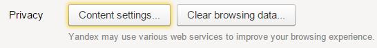 Кнопка «Очистить историю» раздела «Privacy»