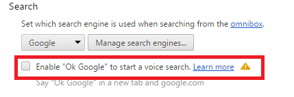 Опция «Enable «Ok, Google» to start a voice search»