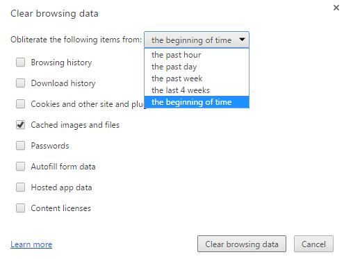 Пункт «Cached files», отмеченный галочкой, и список периодов для очистки