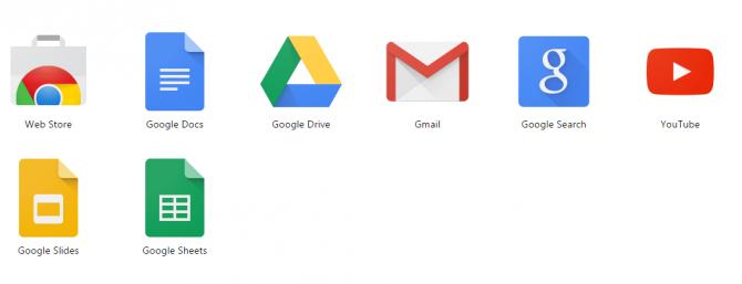 Значки приложений Google Apps
