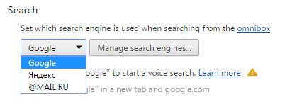 Выбор поисковой системы в разделе «Search»