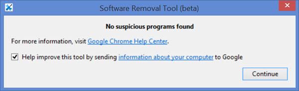 Окно с сообщением «No suspicious programs found»