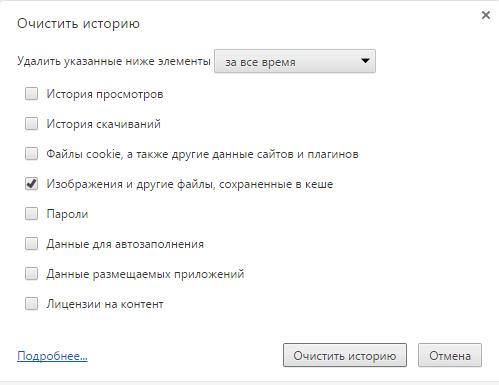 Окно раздела «Очистить историю» в браузере