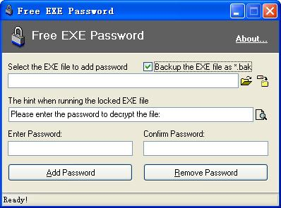 Окно программы Free Exe Password