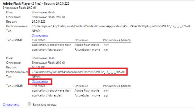 Раздел, посвященный Adobe Flash Player с двумя работающими модулями