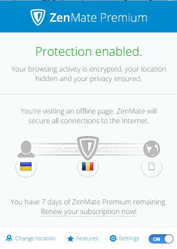Панель управления приложения Zenmate