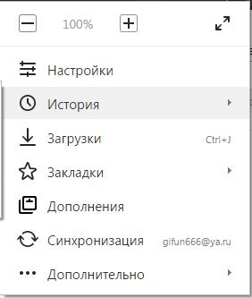 Раздел «История» в панели управления браузера