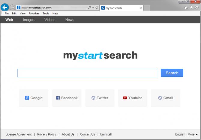 Окно плагина MyStartSearch