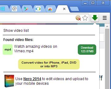 Окно плагина Video Downloader